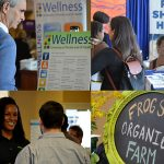 four images of last year's benefits and wellness fair attendees and vendors